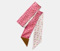 Schmaler Schal mit Kirsch- und Stern-Print sowie personalisierbarem Lederetikett