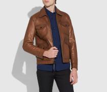 Jacke aus poliertem Leder mit vier Taschen