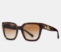 Eckige Sonnenbrille im Pferdekutschen-Design mit Hologramm