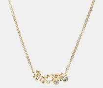 Pavé-Halskette aus Sterlingsilber im Pferdekutschen-Motiv