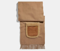 Oversize-Schal mit Lammfelltaschen
