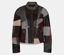 Racer-Jacke aus Leder-Patchwork
