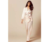 Classic Pyjama Top In Pink Silk