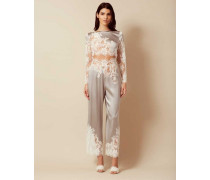 Nayeli Pyjama Bottom In Ivory And Silver Silk