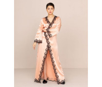 Amelea Long Gown Pink Silk With Black Trim