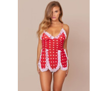 Ismay Slip In Red & White Polka Dots With Fluffy Trim
