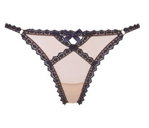 Venetia Thong In Nude And Black Lace Trim With Subtle Sheen