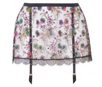 Dalliyah Suspender In Black Mesh Tulle With Colourful Floral Embroidery