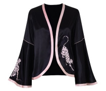 Selene Panther Pyjama Jacket In Black With Pink Trim
