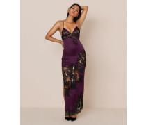 Nayeli Long Slip In Plum Silk With Black Lace