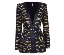 Genevieve Tux Jacket In Black And Gold Tiger Stripe