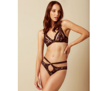 Mandi Brief In Brown And Blue With French Lace