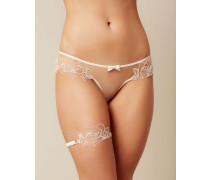 Lindie Garter In White With Floral Design