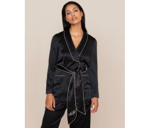 Ezra Pyjama Jacket In Black Silk With Sash Belt