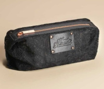 Small Lace Cosmetic Bag In Black With Rose Gold Zip