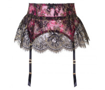 Yesmine Skirt Suspender in Pink And Black Lace