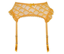 Anna Suspender In Yellow With Lace Trim