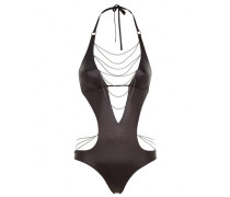 Tonya Swimsuit In Black With Silver Chains