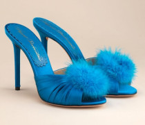 Elice Mule High Heels In Blue Satin