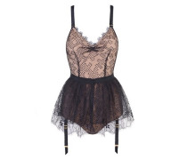 Elsey Skirt In Black With Honeycomb Lace