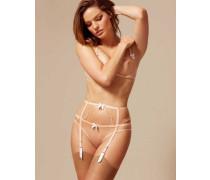 Lorna Suspender In White and Peach Trim