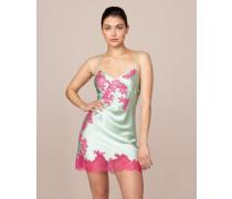 Elizabelle Short Slip In Mint Green Silk & Pink Lace