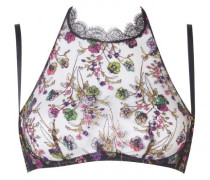 Dalliyah Bra In Black Mesh Tulle With Colourful Floral Embroidery