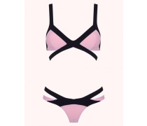 Mazzy Bikini Bra In Pink & Black