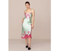 Elizabelle Long Slip In Mint Green Silk & Pink Lace