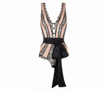 Saffi Lace Body In Black And Nude With Chervron Detailing And Leavers Lace