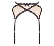 Venetia Suspender In Nude And Black Eyelash Trim