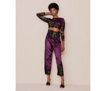 Nayeli Pyjama Bottom In Plum Silk With Black Lace