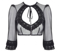 Eunice Boudoir Top In Black With Floral Lace