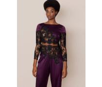 Nayeli Pyjama Top In Plum Silk With Black Lace