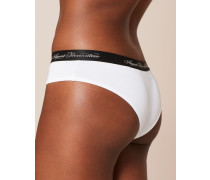 Clea Boxer In White With Black Trim; Clea Boxer In White With Black Trim.