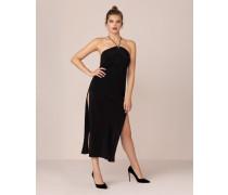 Caprio Long Slip Dress In Black With Halterneck Collar
