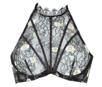 Athena Bra In Black Lace Embroidered With Daises & Swarovski Crystals