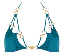 Davine Bikini Top In Green With Gold Rings