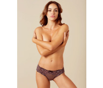 Tyra French Knicker In Black With Pink Floral Embriodery