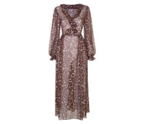 Novak Long Dress In Brown Leopard Print