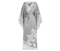 Nayeli Long Kimono In Silver Silk With Ivory Lace