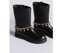 Stiefel aus Leder mit Charmkettchen