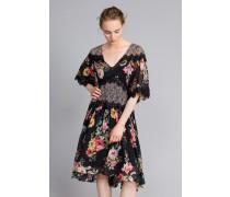 Kurzes Kleid aus Georgette mit Blumenprint