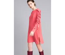 Kurzes Kleid Aus Seidenmischung Mit Volant