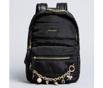 Rucksack aus Nylon mit Ketten und Charms