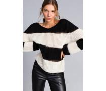 Gestreifter Pullover aus Mohair mit Lurex