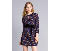 Kleid aus Lurexjacquard mit Mehrfarbigem Streifenmuster