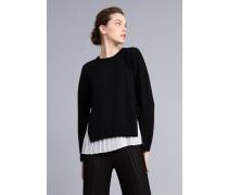 Pullover aus Wolle und Kaschmir mit Plissiertem Top