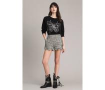 Tweed-Shorts mit Fransen