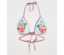 Tüll-Dreiecks-Bikinioberteil mit Stickerei